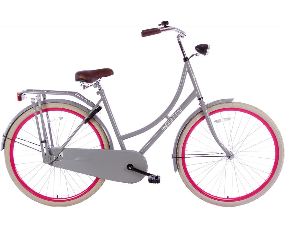 Spirit Omafiets Deluxe Grijs-Roze 28 inch