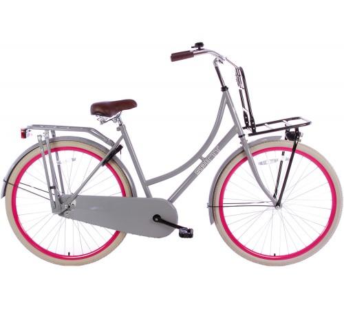 Spirit Omafiets Deluxe Plus Grijs-Roze 28 inch